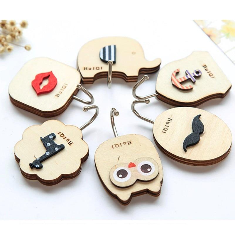Key Decorative Hooks 1PCS Cute Cartoon Wood Decorative Holder Wall Hooks For Kitchen Organizer Bathroom Accessories Key Hanger (2)