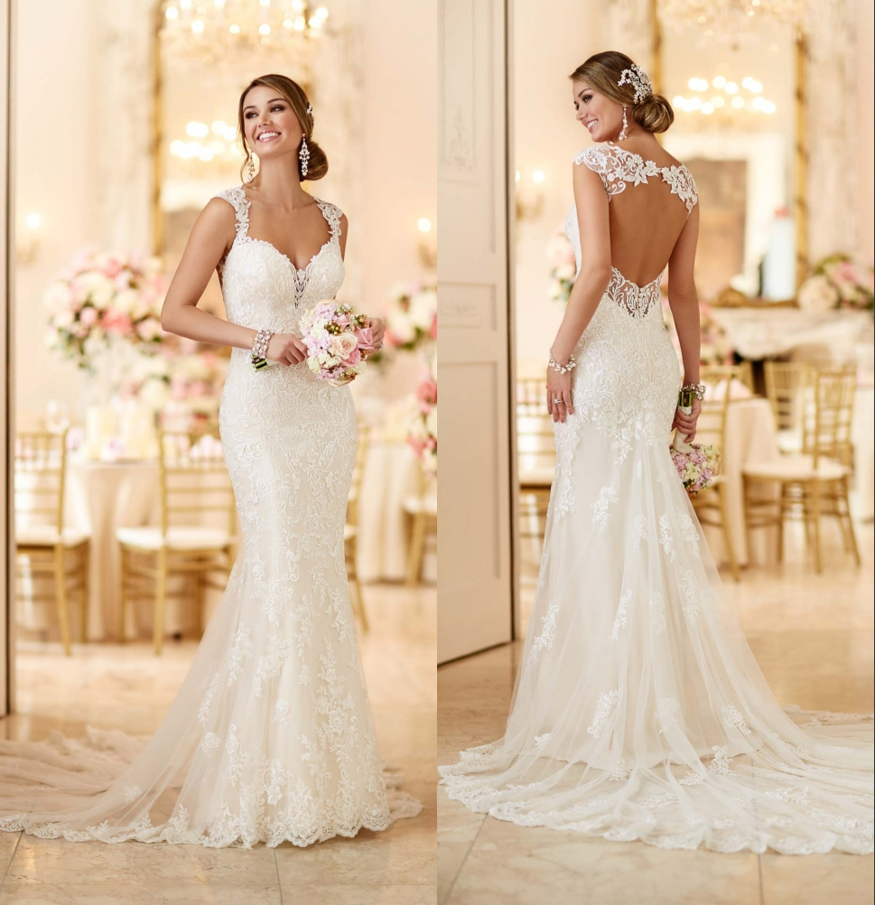 2016 Stella York 6245 Wedding Dresses With Open Back And