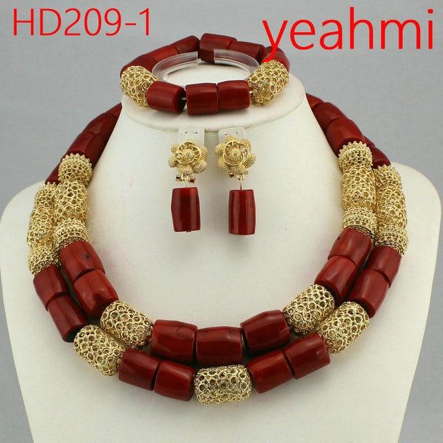 Lộng lẫy Bất Hạt San Hô Bộ Trang Sức Cưới Phi Dubai Vàng Chunky Bib Vòng Cổ Thiết Lập Truyền Thống Nigeria Wedding Bead HD209