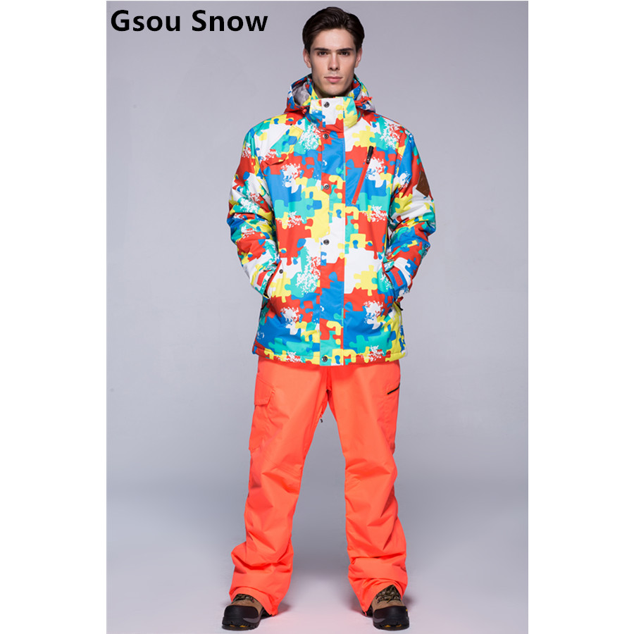 2015 Gsou snow mens ski suit male snowboarding suit multicolour skiwear Camouflage jacket and pure color pants waterproof 10K brand gsou snow technology fabrics women ski suit snowboarding ski jacket women skiing jacket suit jaquetas feminina girls ski