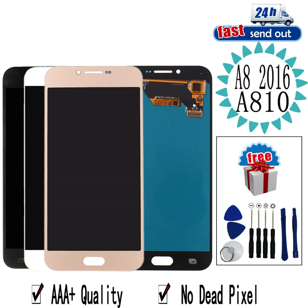 5.7'' AMOLED A810 LCD For SAMSUNG GALAXY A8 2016 A8100 LCD Display A810F Touch Screen Tested Digitizer Assembly image