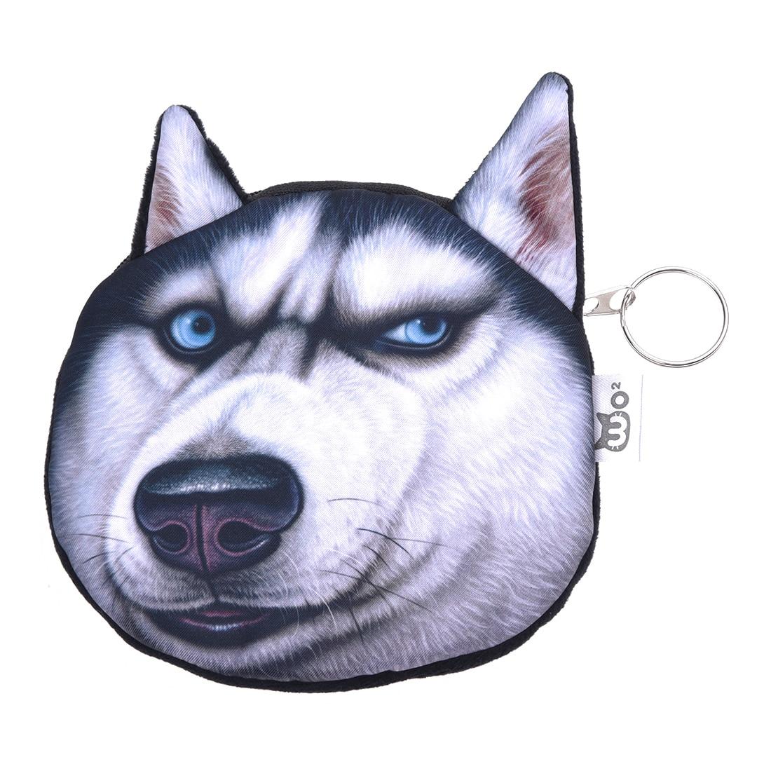 ABDB-Cute Lovely 3D Dog Face Zipper Case Coin Girl Purse Wallet Makeup Bag Pouch Huskies