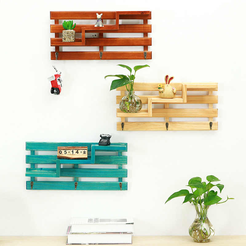 Nordic Wall Decoration Storage Shelf Vintage Wood Sundries Storage Rack Decorative Wall Shelves Organizador Flower Holder