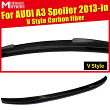 For Audi A3 A3Q High-quality Carbon Rear Spoiler Small V Style Coupe Carbon Fiber Rear Spoiler Rear Trunk Wing car styling 2013+ a3 rear trunk spoiler wing lip small aev style carbon fiber for a3 a3q auto air rear trunk spoiler tail wing car styling 2013 in