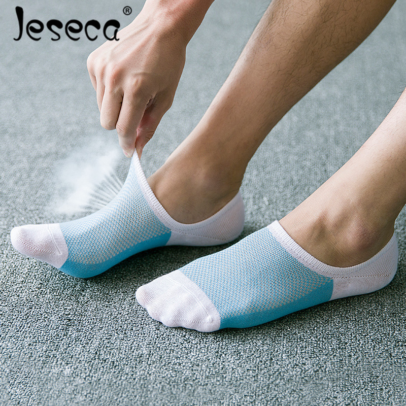 Jeseca 5 Pairs Summer Mesh Breathable Short   Socks   Stripe Non-slip Silicone   Sock   Men's No Show Invisible Boat Sox For Mens Gifts