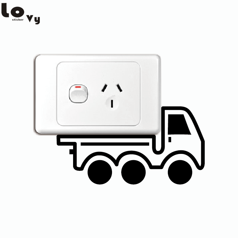 Cartoon Truck Light Switch Sticker Creative Truck Vinyl Wall Decal for Kids Room Bbedroom Home Decor