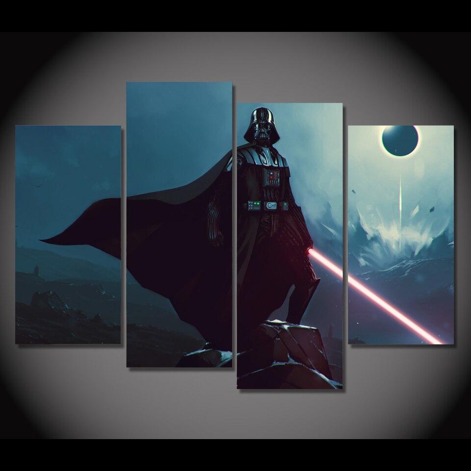 4 pièces/ensemble encadrée HD imprimé affiche de film dark vador photo mur Art impression affiche œuvre toile huile modulaire peinture