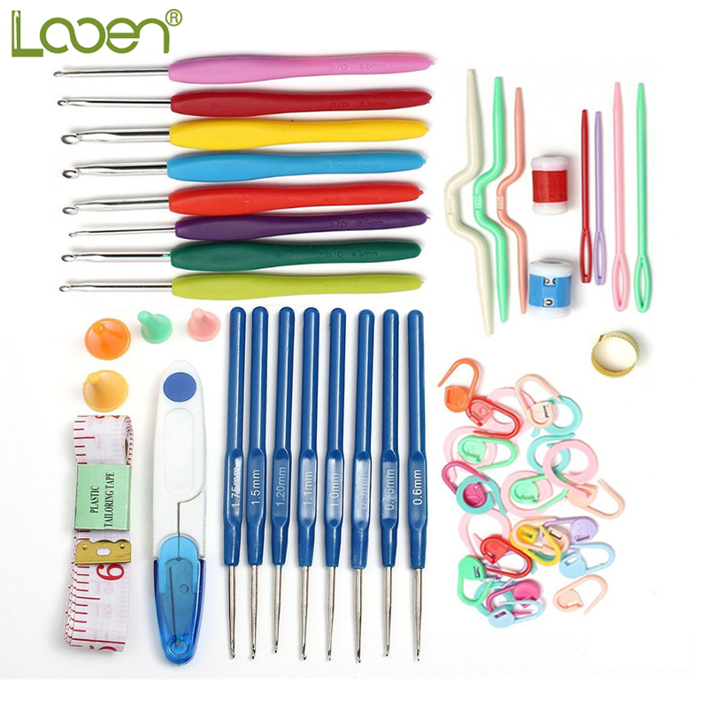 Looen Brand 53pcs Crochet Hook Set Needle Tape Gunting Multifungsi Threads Sewing Aksesori Portable Berguna Alat Rumah
