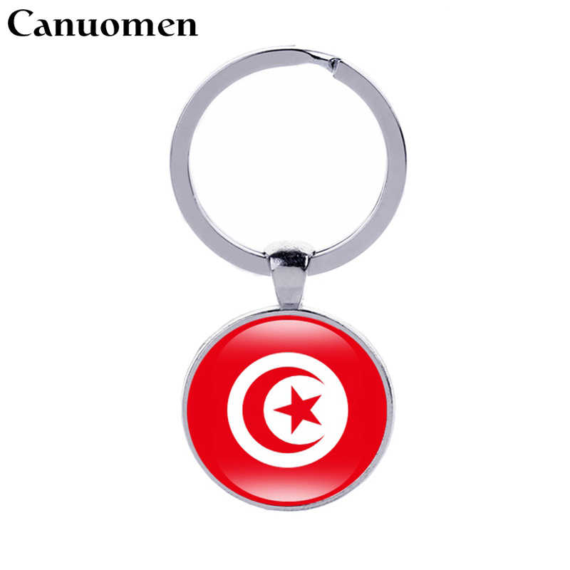 Canuomen Tunisia Flag Keychain Uganda Ivory Coast Zambia Chad Central Africa Flags Keyrings Women Gift Jewelry