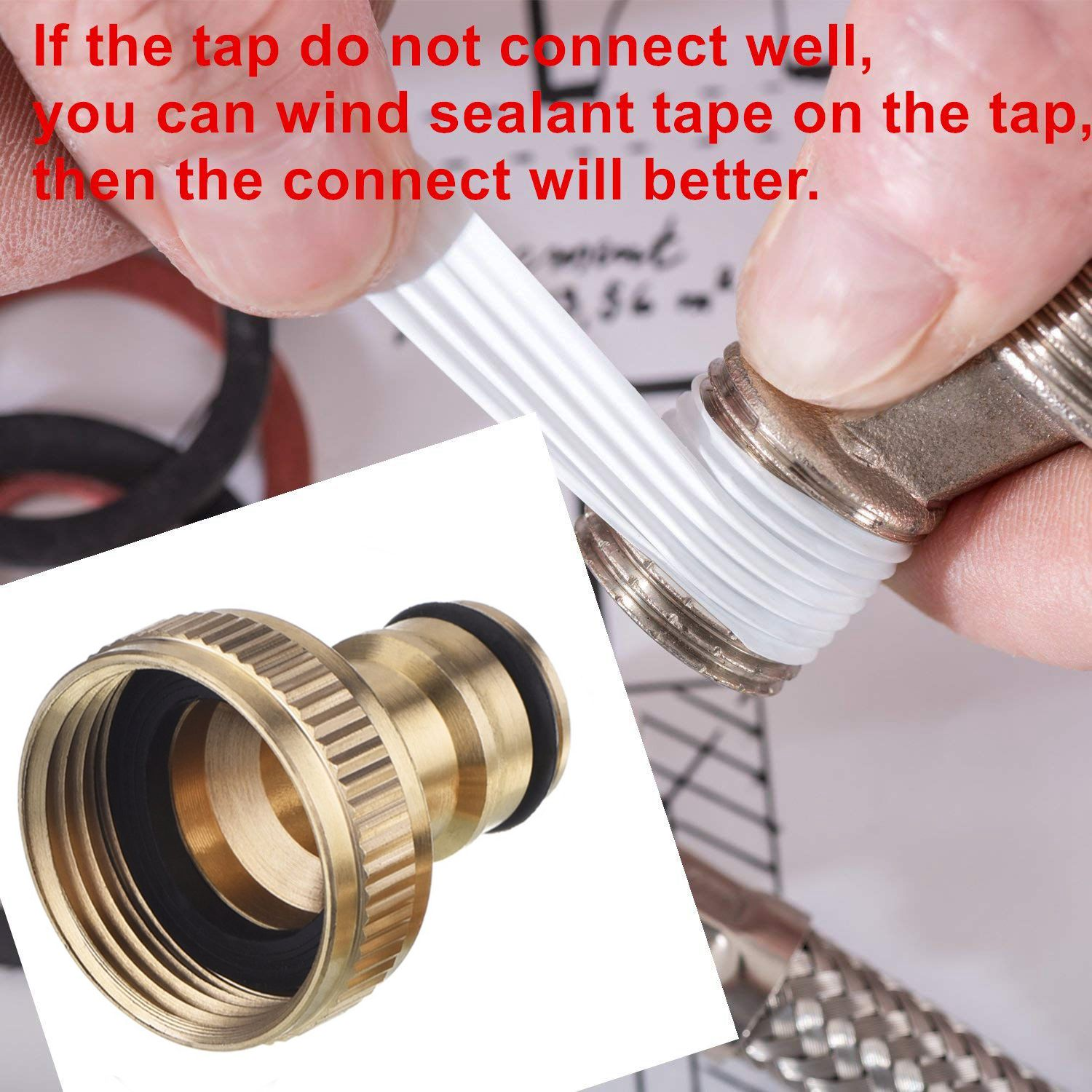 2PCs 3/4-Inch Garden Hose Tap Connector Brass Garden Hosepipe Tap Connector Threaded Faucet Adapter for outer diameter 25mm 4 way water tap converter 3 4 connector splitter hose pipe adapter pipe fitting garden irrigation watering page 5