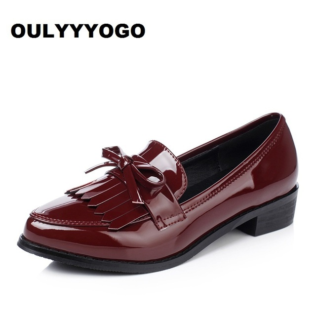British Style Women s Shoes Tassel Spring Female Loafers Pointed Toe  Leisure Women s Flats Patent Leather Retro