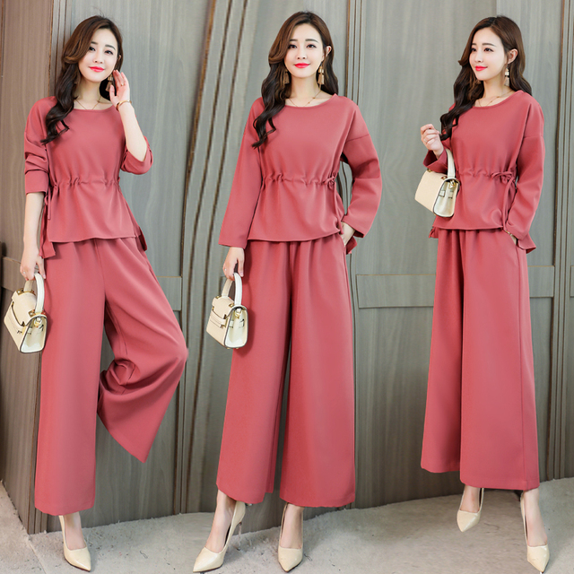 3396b444f9a 5xl Plus Size 2 Piece Set Women Wide Leg Trousers Top pants Set Palazzo  Pants Tracksuit Women Year-old Female Costume