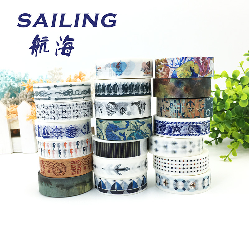 Washi Tape set 19 Anchor Sea Nautical Ocean Sailor Naval Sailing Stationery Planner Supply journal Decorative Masking Gift Wrap baricco a ocean sea