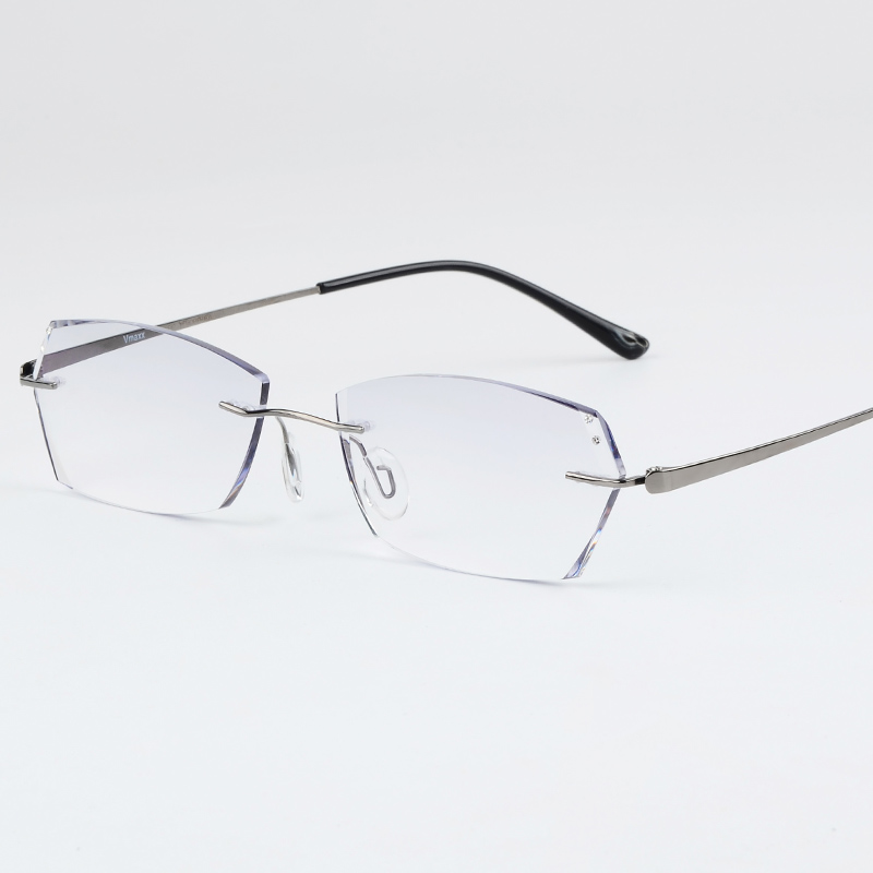 Men 100% Luxury Titanium Silver Eyeglass Frames Glasses Half-rim Eyeglasses Rx Fashionable Style; In