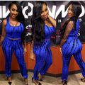 2016 New Style Summer Spring Fashion Women Clothing Blue And Black Sleeveless Print Two Piece Pant SuitS Dress