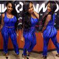 2016 Novo Estilo de Moda Primavera Verão Roupas Femininas Azul E Preto Sem Mangas de Impressão de Duas Peças Pant Ternos de Vestido