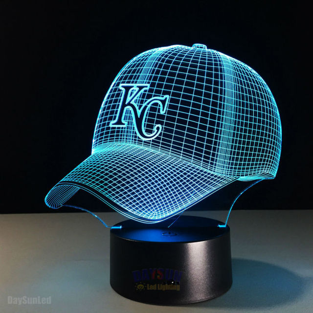 NEW MLB Baseball Team KC Cap LED 3D Illusion Nightlight 7 Colors USB/Battery Visual American Baseball Hat Decor Bulb Visual Lamp