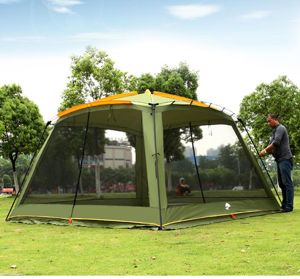 Août Ultralarge 365*365*220 CM avec moustiquaire Camping tente grand Gazebo abri soleil plage tente Barraca