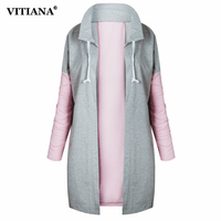 VITIANA Women Long Coat Female 2017 Autumn Black Pink Long Sleeve Jackets Casual Outerwear Loose Tops