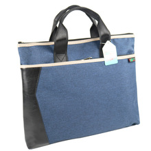1PCS Portable Business Briefcase A4 Double Zipper Oxford Cloth PU Leather File Bag Data Mens Package Conference