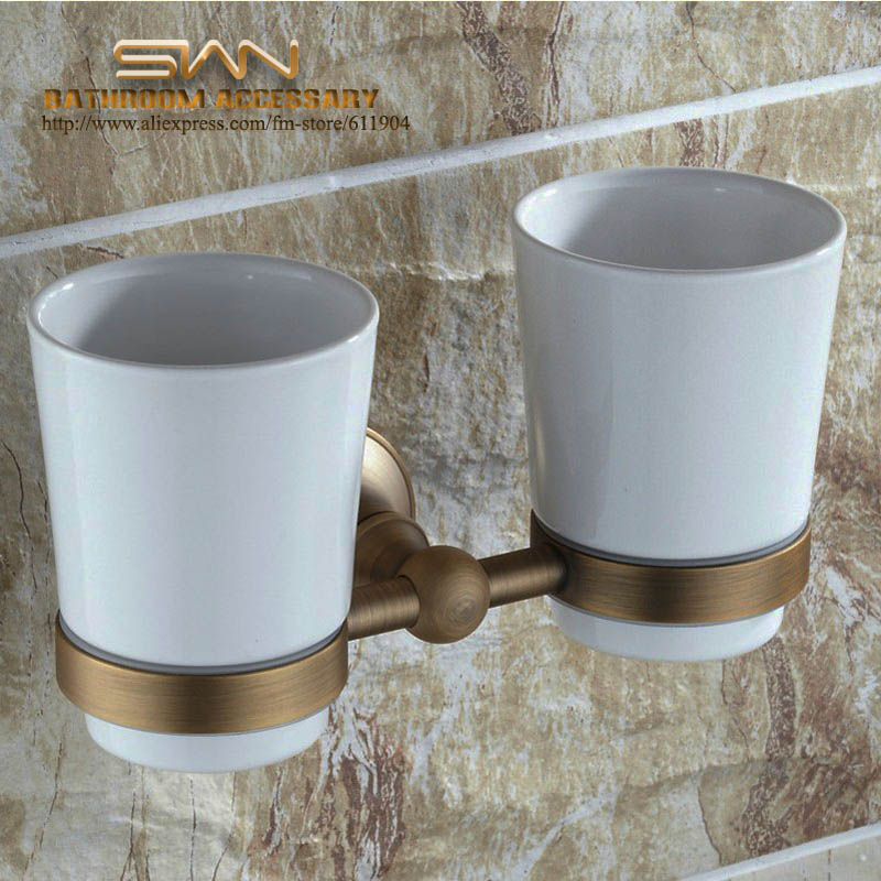 Antique Brass Toothbrush Double Cup Tumbler Holders Clear Glass Bathroom Hardware 3A11221 women s high street ripped knees jeans strech low rise denim pencil skinny pants trousers femme jeans for women jean hole jeans