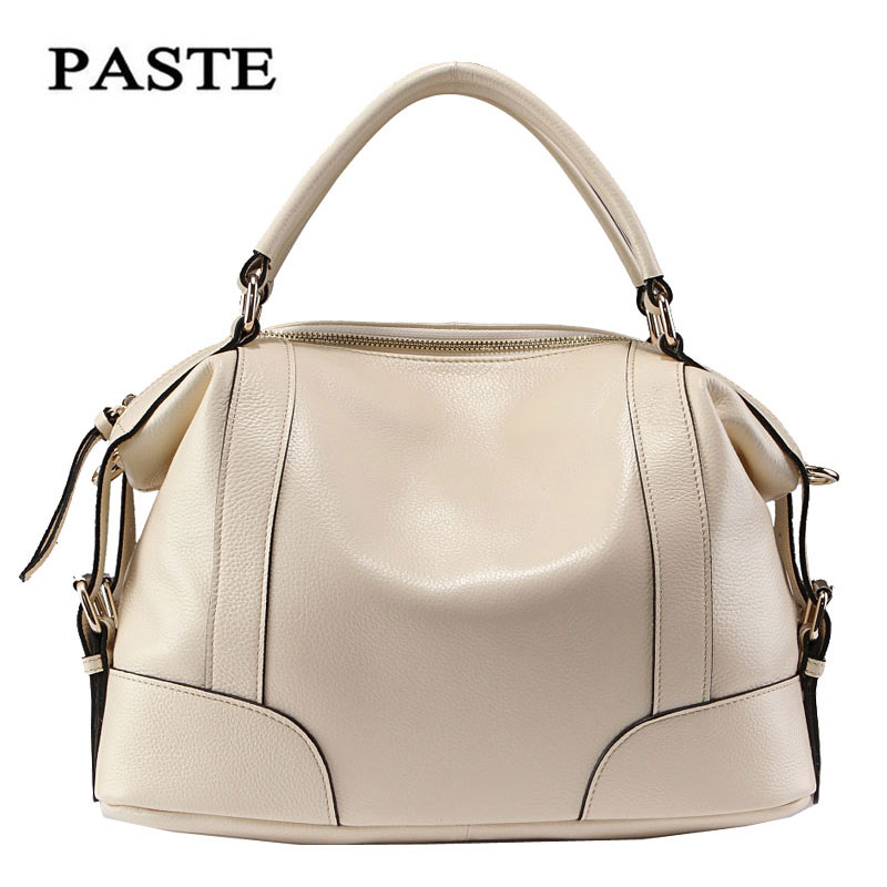 PASTE leather shoulder bag super-wear first layer of leather handbags leather bag ladies hand Messenger bag P1006S paste new leather handbags first layer of leather shoulder bag messenger bag handbag white casual bag female shoulder bag