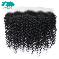 Allrun Kinky Curly Lace Frontal 13*4 Free Part Peruvian Human Hair Closure Lace Frontal With Baby Hair Ear to Ear Non Remy 8 20