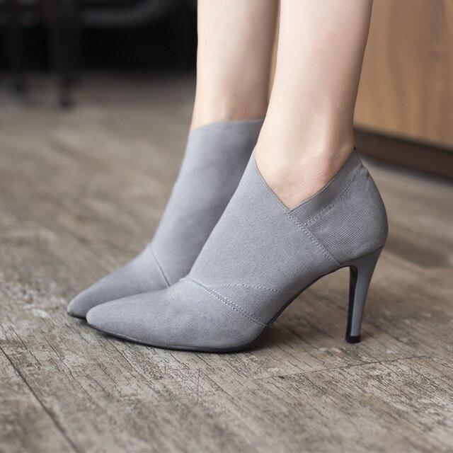 Горячая распродажа женские ботинки с острым носком на высоком каблуке в европейском и американском стиле осенне-зимние облегающие женские тонкие туфли DT609