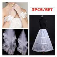 3PCS/SET White Bride Wedding Party Bridal Long Tulle Veil + Gloves + Skirt Kit Petticoats Accessories Party Wedding Decorations