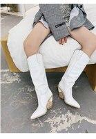 Брендовая шикарная женская обувь для подиума, женские ботинки с острым носком на высоком каблуке, кожаные ботинки с высоким голенищем, модн