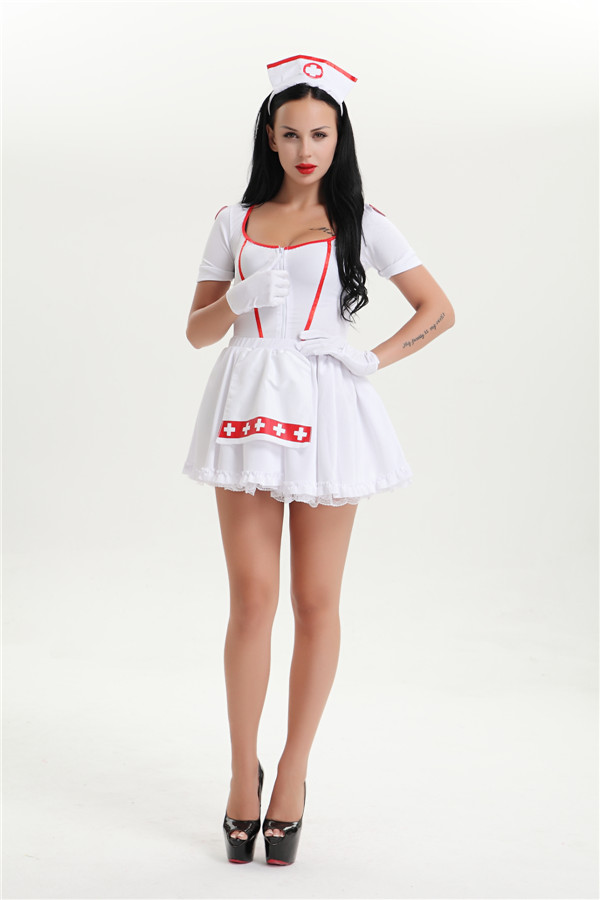 FREE SHIPPING Sexy Lingerie Nurse Costume Adult Women Halloween Outfit Fancy Dress 321