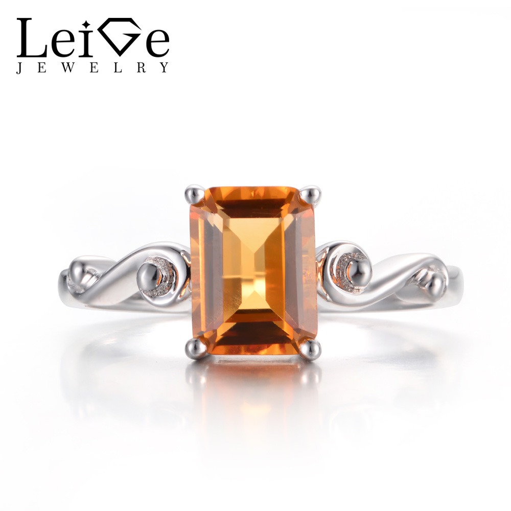 Leige Jewelry Citrine Promise Rings Real Natural Yellow Citrine Rings Emerald Cut Rings 925 Sterling Silver Solitaire Ring Gifts