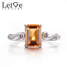 Leige Jewelry Citrine Promise Rings Real Natural Yellow Citrine Rings Emerald Cut Rings 925 Sterling Silver Solitaire Ring Gifts - DISCOUNT ITEM  0% OFF All Category