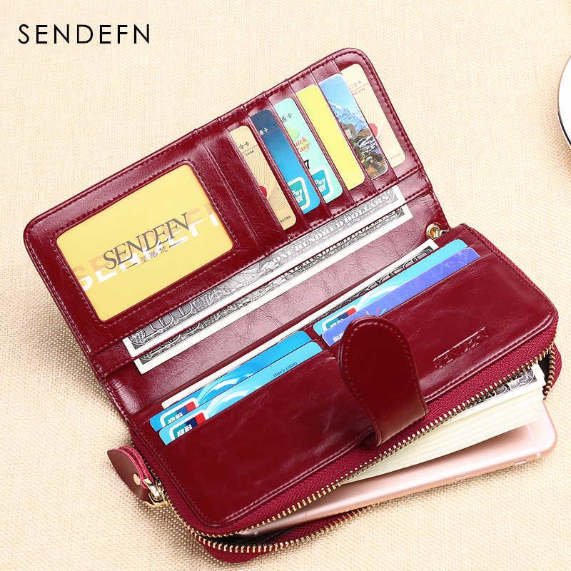 Sendefn venda quente marca de couro feminino carteira bolsa feminina longo senhora bolsa de dinheiro embreagem zíper moeda bolsa feminina 8002-69