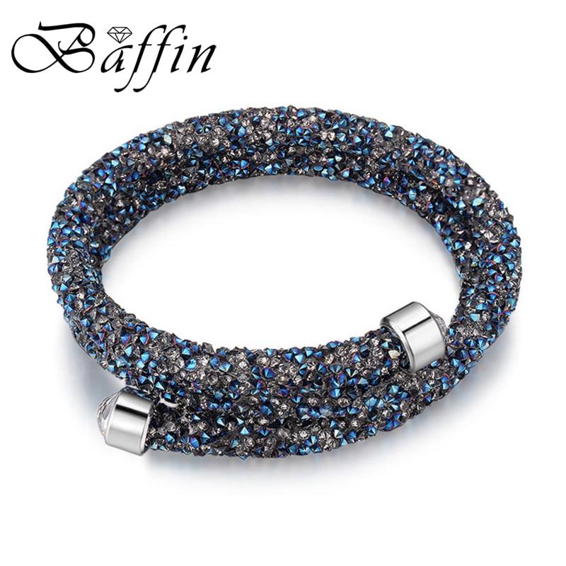01660a0b98fc BAFFIN encanto brazalete pulsera doble capas para mujer cristal de SWAROVSKI  Pulseira mujeres fiesta boda joyería