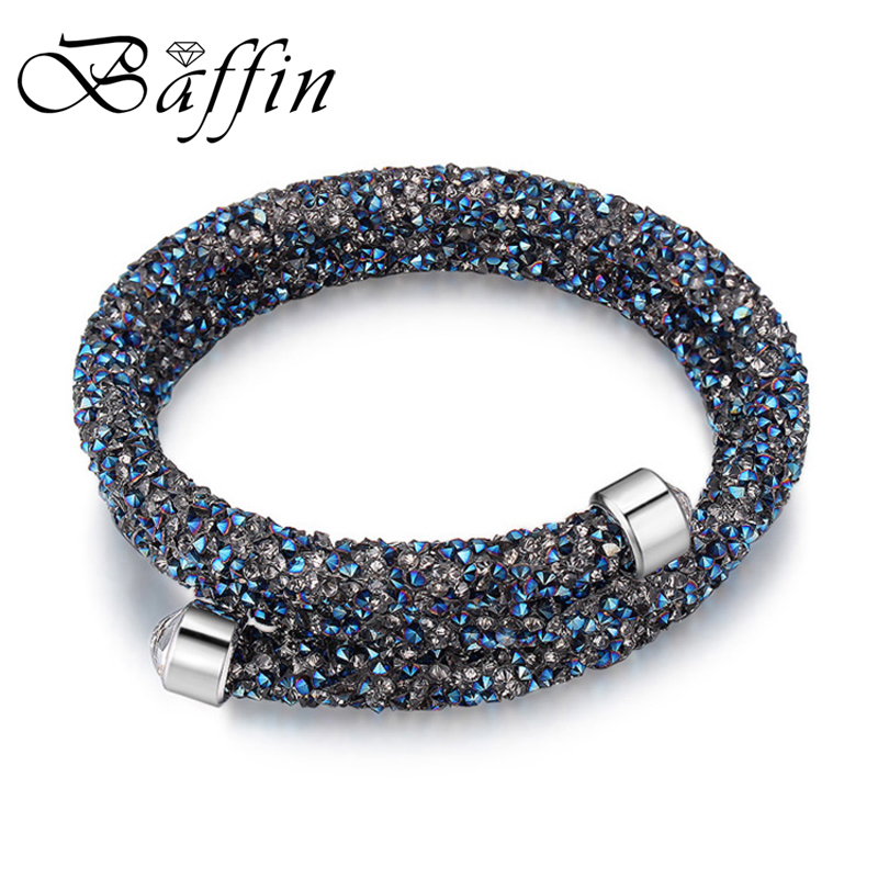 BAFFIN Charm Bracelet Cuff Bangle Double Layers For Women Crystal From SWAROVSKI Pulseira Women Party Wedding Jewelry
