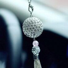 Интерьер автомобиля зеркало заднего вида украшения очаровательный Diamond Crystal шар висит кулон мода автомобиль украшения Аксессуары