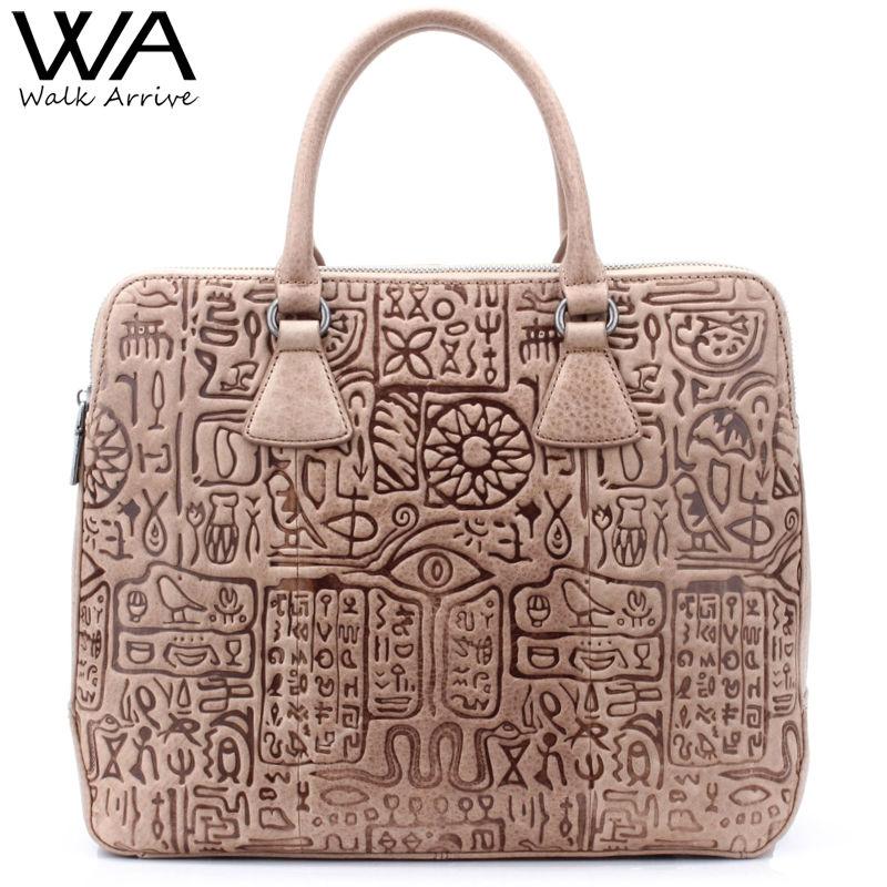 Walk Arrive Genuine Leather Women Tote Bag Handbag Special Design Embossed Leather Shoulder Bag Fashion Big Purse