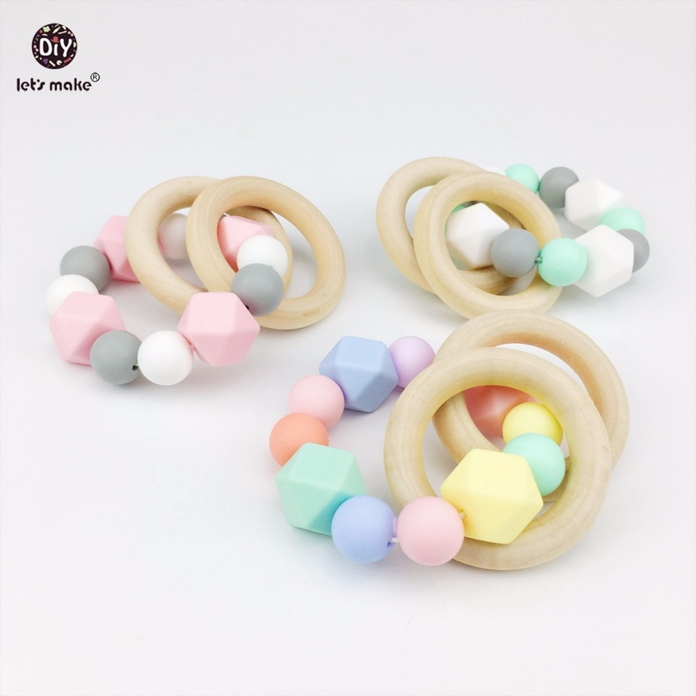 Lets Make 3pc Silicone Bracelet Teether Baby Teething Nursing Accessories Chew Silicone Beads Montessori Rattles Toys Teether