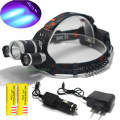 LED UV XML T6+2*R5 Headlight Headlamp Purple LED Flashlight 6000 LM for Hunting + 2 x18650 Rechargeable Battery+ Charger