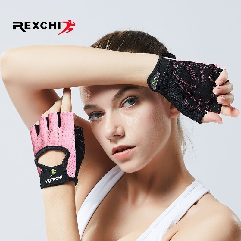 REXCHI Professional Gym Fitness Gloves Power Weight Lifting Women Men Crossfit Workout Bodybuilding Half Finger Hand Protector girl
