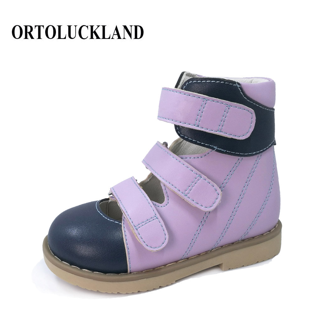 Ortoluckland Children Girl Sandal Boy Orthopedic Shoes For Kids Purple Closed Toe Leather Sandals Shoes With Support Arch Insole