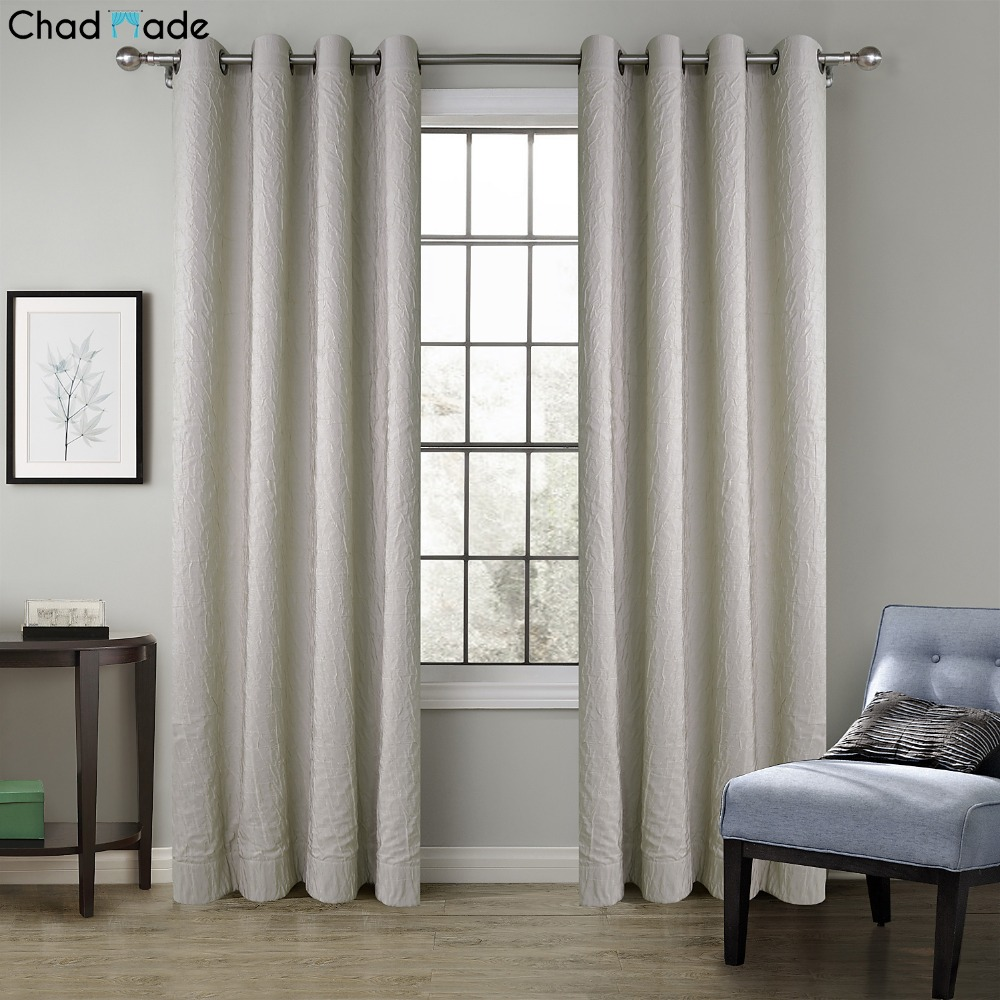 ChadMade Solid Crinkle Blackout Lined Curtains Drapes