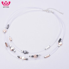 Bohemia Simple Fashion Heart Beads Necklace Women Multi Layers Fish Line Invisible Chain Choker Female Jewelry Gift