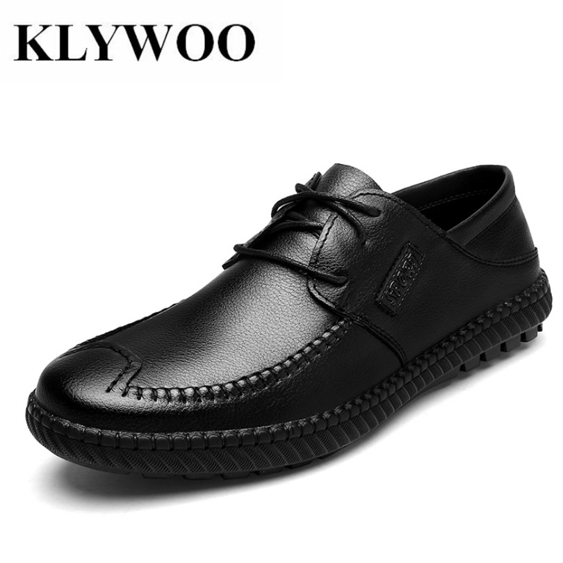 KLYWOO Fashion Men Shoes Leather Men Loafers Casual Shoes Breathable Lace up Moccasins Brand Mens Shoes Casual Mocassin Homme men leather shoes casual 2017 spring summer fashion shoes for men designer shoes casual breathable mens shoes comfort loafers