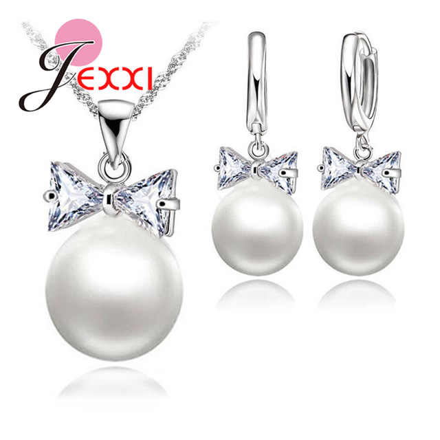 Hot Sell Earrings Necklace Crystal Pearl Jewelry Set 925 Sterling Silver Color Pearl Crystal Bow Tie Hoop Earrings Necklace Set
