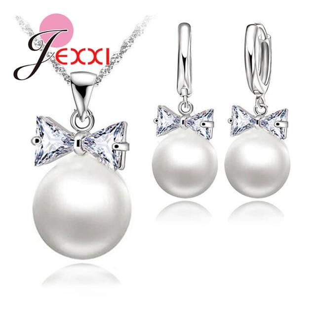 Earrings Necklace Crystal Pearl Jewelry Set 925 Sterling Silver Color Pearl Crystal Bow Tie Hoop Earrings Necklace Set