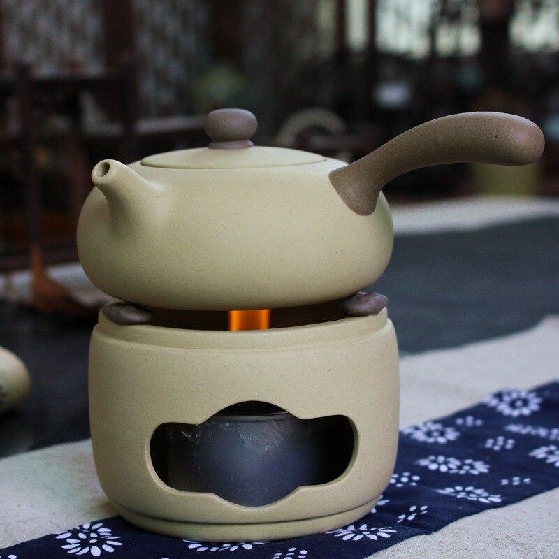 Kung Fu service à thé théière jaune poterie alcool four théière plus chaud avec alcool lampe avec porte-pot