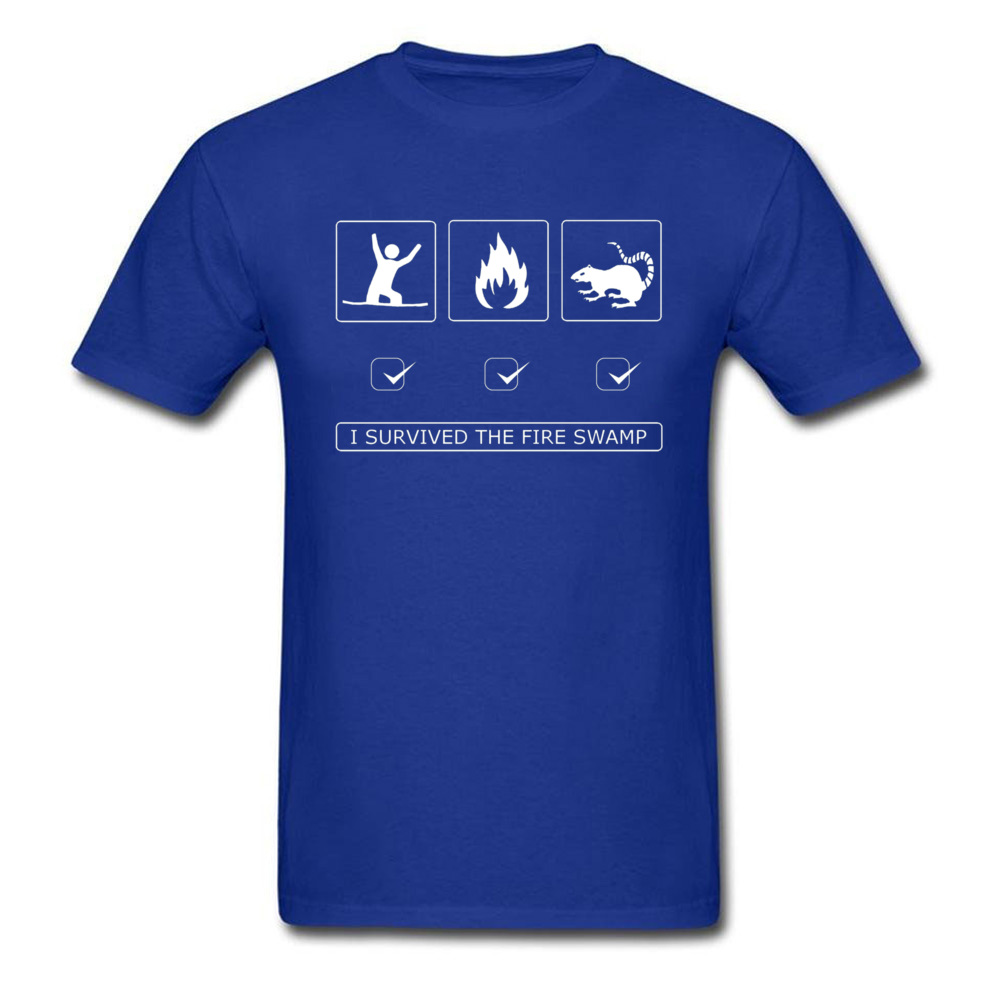 Discount Man Top T-shirts Customized Summer Tops & Tees 100% Cotton Short Sleeve Europe T-Shirt Round Neck Top Quality I survived the fire swamp 3004 blue