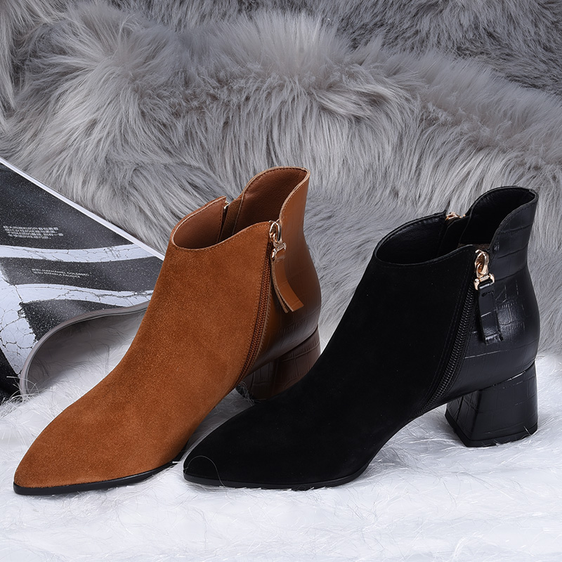 Autumn Winter Women Boots Casual Ladies shoes Martin boots Suede Leather ankle boots High heeled zipper Snow boot  L&T women led light shoes casual shoes led luminous boots unisex genuine leather ankle boots women usb charging martin boots 35 46